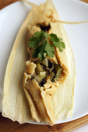Our beloved Terry Hope Romero brings it YET AGAIN with these Olive Oil Tamales with Asparagus & Mushrooms! Man, I love tamales so much. I love all foods that contain other foods because that's twice the food, which means it's twice as good—do the math. I would eat this preceded by a bounty of spring rolls and followed with a gang load of veganized Slutty Brownies. Food-within-food party, commence!