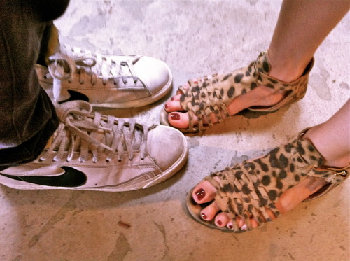 "white nike blazers —""Fantasy"" by Breakbot givency leopard print sandals — ""Midnight City"" by M83"