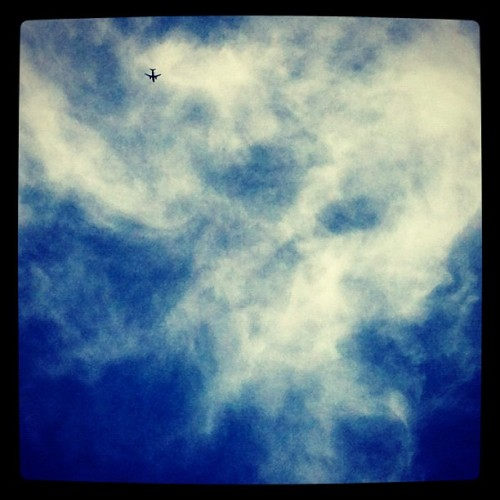 #airplane #sky #blue #tiny #clouds (Taken with instagram)