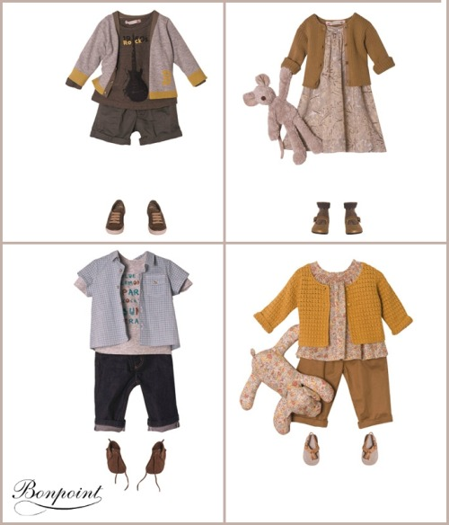 Bonpoint is a children's clothier based in France. Their concept outfits are too fun to pass up - with a boho layered look that is both practical and super stylish. Above are just a few of my favorite looks taken from their main site. I can't get over the little boy's rocker outfit; so fun!
