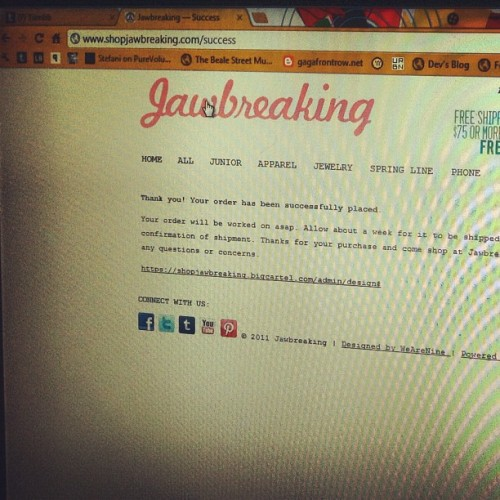robbywise:  #Jawbreaking can't wait! @shopjawbreaking love your line @alysilverio! (Taken with instagram)  Yay! Thank you Robby! :)