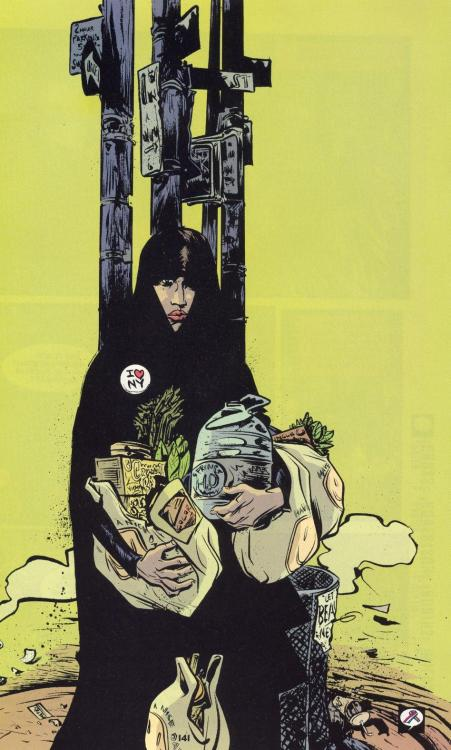 Paul Pope illustrates a veiled woman in New York