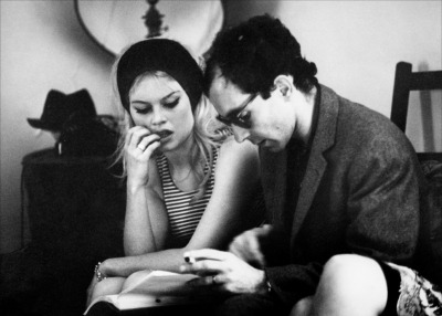 miss-bardot:  Brigitte Bardot & Jean-Luc Godard on the set of Le Mépris, 1963.