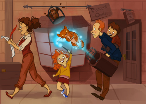 The Weasley's at Diagon Alley by ~TwiggyMcBones (via io9)