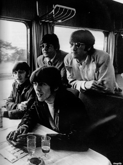fuckyeahdeutsch:  thegilly:  The Beatles on the train to Essen, June 1966.  Did you know that the Beatles also sang two of their songs in German? Komm, gib mir Deine Hand Sie liebt dich