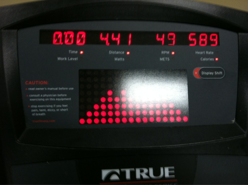 4/22 - 30 min of Elliptical. 4.41 miles. 589 calories.