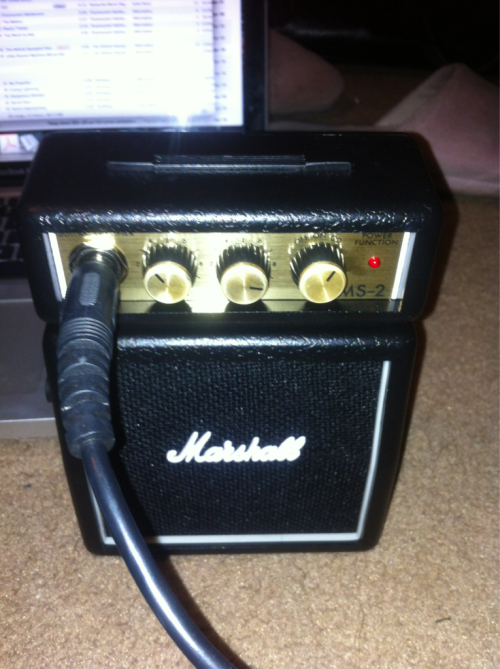 My new mini Marshall amp is the greatest thing in the world!! I clip it to my pocket and walk around the house playing Arctic Monkeys songs on guitar and pissing everyone off muhaha. The sound is fairly decent too!