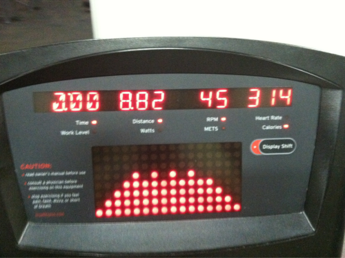 4/22 - 30 min. Bicycle, Fat Burn setting. 8.82 Miles. 314 calories.
