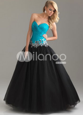 Navy Blue Satin Strapless Sweetheart Beading Black Tulle Ball Gown