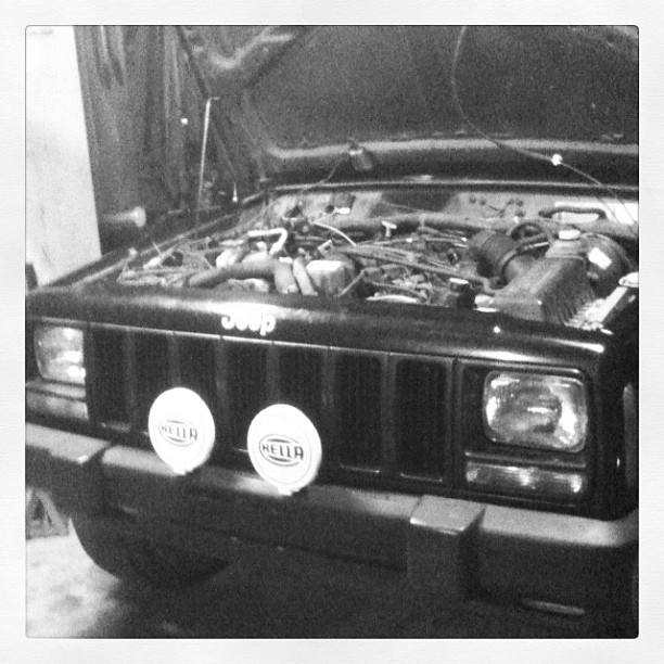 Putting Hellas on the jeep.      (Taken with instagram)