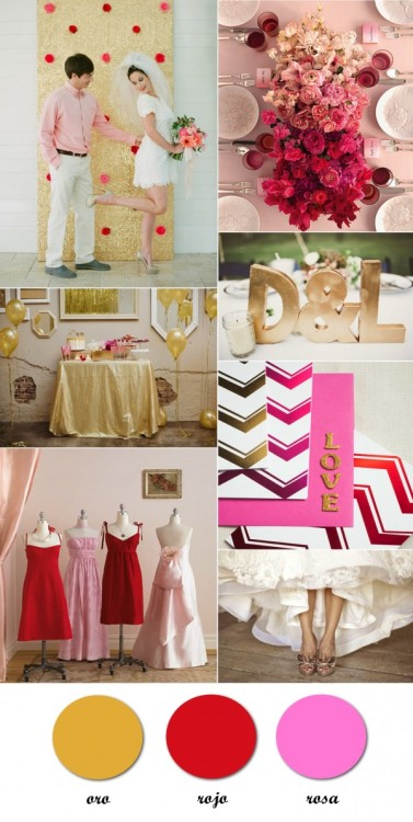 (vía Boda en dorado, rojo y rosa_Gold, red and pink wedding |)