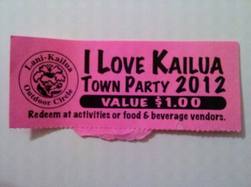 Tickets (scripts) used at the Kailua Day block party