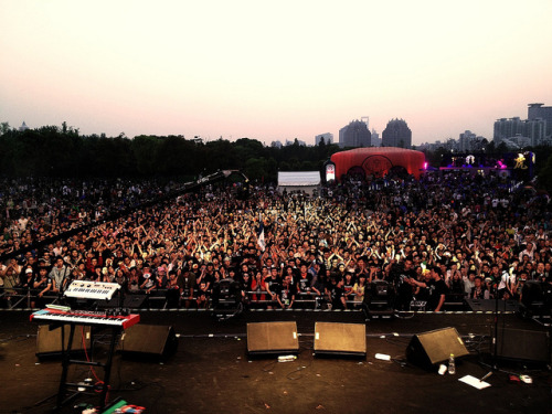 MIDI Festival 2012, Shanghai on Flickr.Via Flickr: Mike took this with his phone just after the sun set and we walked off stage…