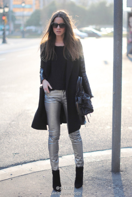 Black overcoat and silver slim pants