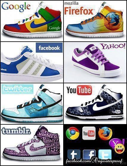 Cool kicks! Which one do you choose? Wear your colors and Rep your Social Network…lace 'em up and Represent your Fam!!