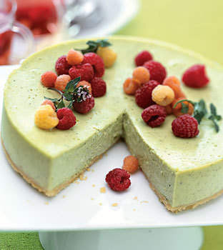 Green Tea Cheesecake with Raspberries http://www.epicurious.com/recipes/food/views/Green-Tea-Cheesecake-with-Raspberries-and-Raspberry-Mint-Tisane-233720