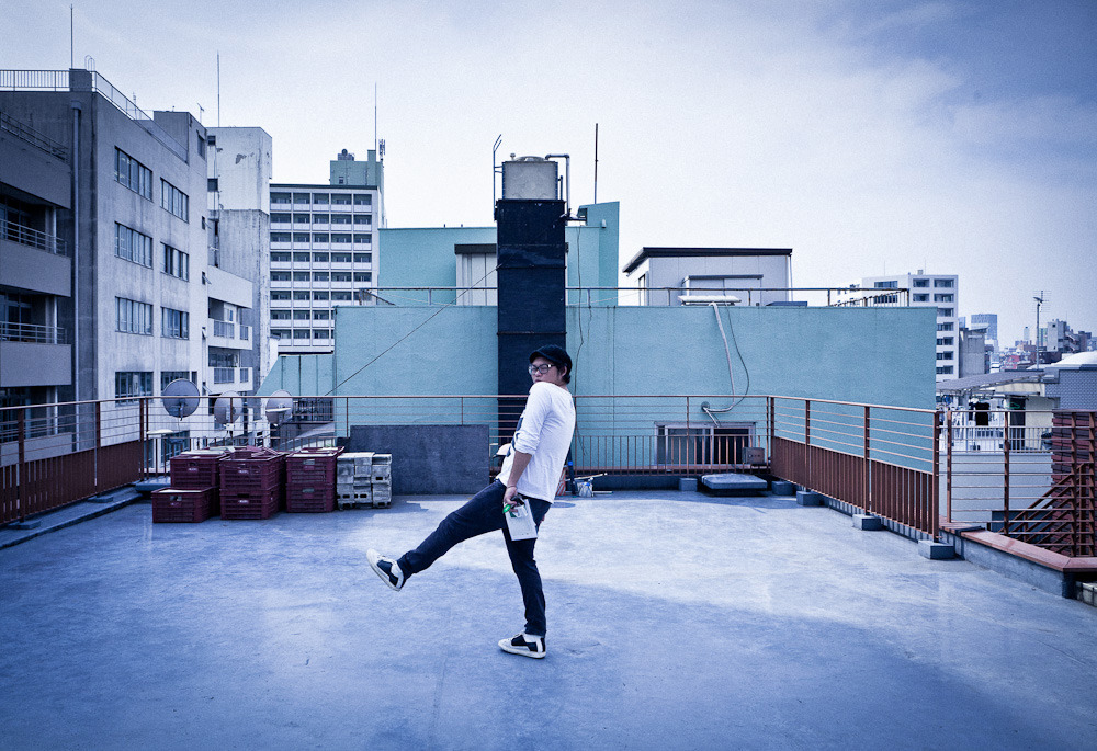 My partner in crime, stylist Kosei Matsuda on a location recce on rooftop in Roppongi.