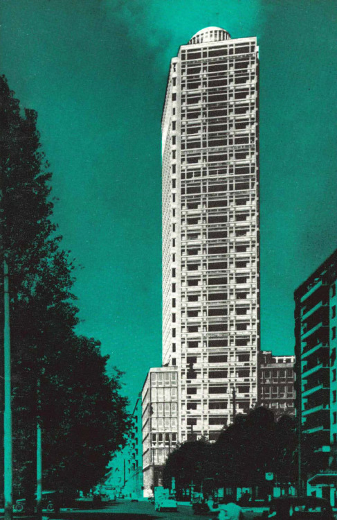 Image from an advertisement brochure for an apartment building in Milan, Italy (circa 1956). The 32 storey apartment building was designed by E. & E. Soncini and Luigi Mattioni. It was built between 1951 and 1955, with a reinforced concrete frame.