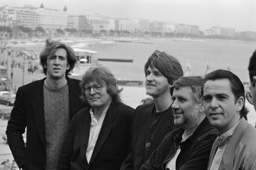 Nicolas Cage, Alan Parker, Matthew Modine, Alan Marshall and Peter Gabriel, 1985