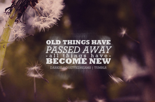 If anyone is in Christ, he is a new creation; old things have passed away; behold, all things have become new. 2 Corinthians 5:17 NKJV