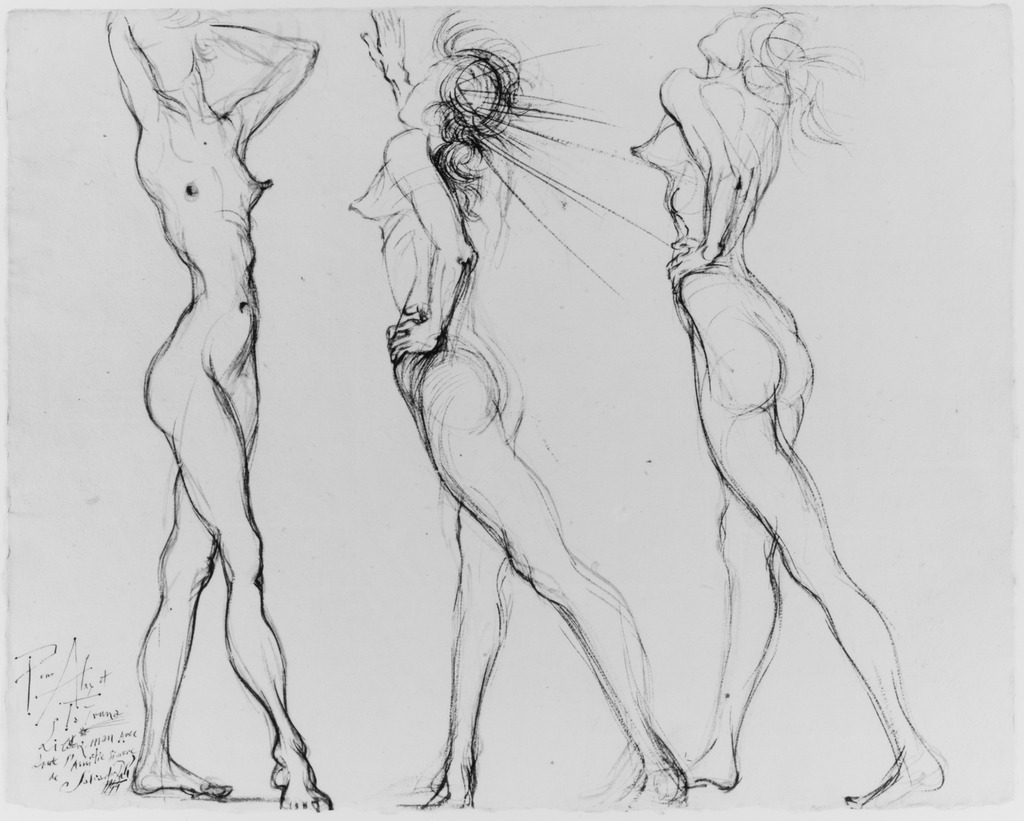fckyeaharthistory:  Salvador Dalí - Three Nudes, 1944. Ink on paper