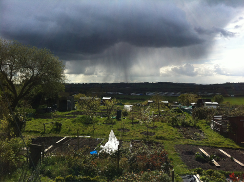 Changeable weather over Wootton Bassett, Saturday 21 April 2012.