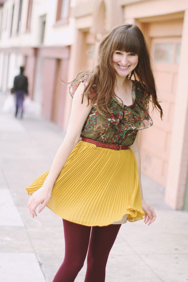 Burgundy tights, yellow plaid skirt and flower print shirt