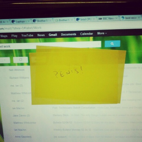 Lees contribution to my computer monitor (Taken with instagram)