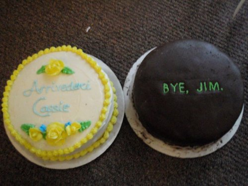 "This is a classic from a few years back; I made these cakes for a Hail & Farewell party at my husband's command.  Kassy (I didn't realize until YEARS later that I'd spelled her name wrong) was transferring to Italy; Jim came to Japan (about a year before we did). FYI, Jim was, and is, a dear family friend. I cooked his wife's first ""real American Thanksgiving"" (holy hell, no pressure there, right?), and he gave my older son his first set of drumsticks.  So the ""we don't give a f*** about you"" vibe of the cake is all in good fun. The Cassie cake was the first time I ever tried a tiramisu-inspired layer cake; and the Jim cake was the first time I hit upon the formula for The Perfect Chocolate Cake.   Mmmm…tiramisu…nobody ever orders it, but I make it for myself every year on my birthday.  Because TIRAMISU.  Kahlua and cream cheese, y'all."