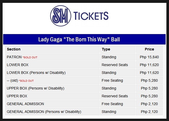 The Born This Way Ball Ticket Prices