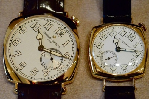 outfluenced:  The Vacheron Constantin Historiques American 1921 (left) is a re-invention in a more up to date (i.e larger) size of the original piece made by Vacheron for an American collector in 1921. The original model is very rare, and only 12 pieces are believed to have been produced and sold over a 10 year period between 1921 - 1931.  This style of watch, with an offset angled dial and crown at the usual 1 o'clock position, is known as a Driver's watch. The reason for this is because when worn by a gentleman on his left wrist (as is/was seen as the correct wrist for a man to wear their wristwatch) the angle of the watch will be straight on when steering the wheel of your favourite vintage Mercedes.  These photographs are the property of HODINKEE, as seen originally here. Please attribute properly.