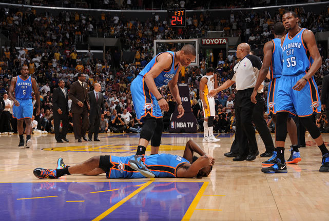 James Harden lays on the floor after being elbowed by Metta World Peace during the second quarter of Sunday's Thunder-Lakers game. World Peace was ejected for the blow, which left Harden unable to return to action. Los Angeles prevailed in double overtime, 114-106. (Andrew D. Bernstein/NBAE via Getty Images) SB NATION: Watch World Peace's elbow to HardenGALLERY: Rare Photos of Metta World Peace