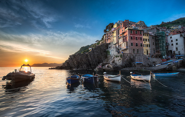 A Riomaggiore Sunset - (Cinque Terre, Italy) by blame_the_monkey on Flickr.