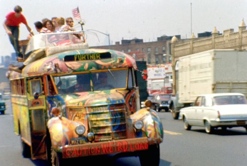"oldnewyork:  In Magic Trip, Ken Kesey, ""the lauded writer of One Flew Over The Cuckoo's Nest's LSD-fueled band of friends were making the journey to the New York World's Fair and was actually filmed at the time, intending to make a documentary about the trip, only the film was never finished, and the footage unseen…"" (link)"