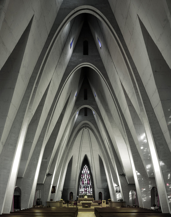 Church Saint-Martin, Donges, France, by architect Jean Dorian, 1957. Corpus Christi-series by Fabrice Fouillet.