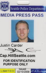 "Hey guys. Check out Justin Carder of capitolhillseattle.com. His blog is a really unique way to approach local news. Yes, he did post his own press pass online. I originally met Justin in Seattle last October while on a media tour with a group of students. His unique approach at covering local news in high detail but low quantity on a blog intrigued me, so I contacted him last week to discuss more about his non-traditional approach to journalism. Justin runs the Capitol Hill Seattle blog, which is a hyperlocal Seattle blog focused on only one section of the city. He and his staff of freelancers cover anything and everything happening within their neighborhood — everything from breaking news to social events to interesting topics that relate to the residents. This hyperlocal blogging technique is interesting because it is an effective way to truly engage the audience in a way that more traditional local stations and other journalism outlets have not yet achieved. According to Justin, he provides content for the site along with a few paid freelance reporters. They are known even by local news outlets like The Seattle Times for covering breaking news in their area in a way that other outlets couldn't because the local focus of the blog allows for a faster response time than a larger organization could have. In addition to hard news, members of the community can submit their own stories to the blog to the ""All Posts"" page. According to Justin's rules for the blog, anyone can post on the ""All Posts"" page, and then the best stories are vetted and moved to the homepage. This keeps content constant and fresh. Overall, I think Justin is on to something interesting that more traditional outlets like KOMU, who are looking for non-traditional ways to reach people, could study. Justin has a close relationship with the members of his neighborhood, partially because his audience is much smaller than any traditional media outlet. But because of that relationship, members of the community go directly to him with information."