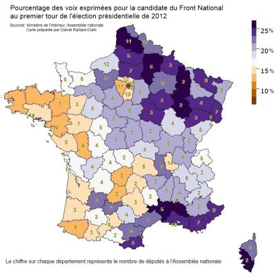 Depuis dimanche, on dit que deux Français sur dix sont cons, mais cette carte révèle que certains coins de l'Hexagone sont plus cons que d'autres… Since Sunday, some people have been saying two out of ten French citizens are idiots, but this map shows that some areas are stupider than others.