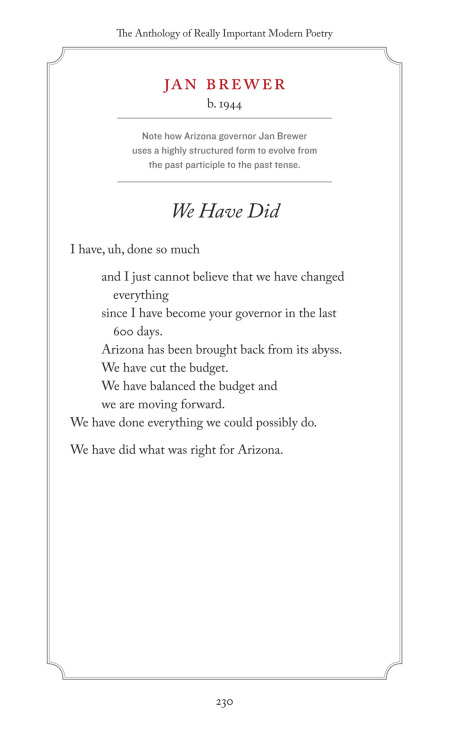 """We Have Did"" by modern poet Jan Brewer."