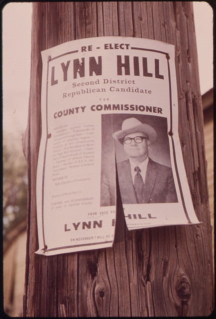 Political poster for Lynn Hill for county commissioner (Garfield County), Rifle, Colorado, July 1973.  What ever happened to Lynn Hill and/or his descendants?