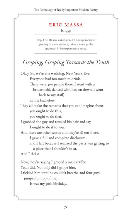 """Groping, Groping Towards the Truth"" by Eric Massa, modern poet."