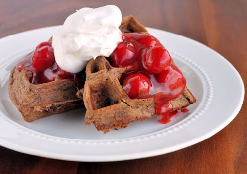cherry chocolate belgian waffles click here for recipe