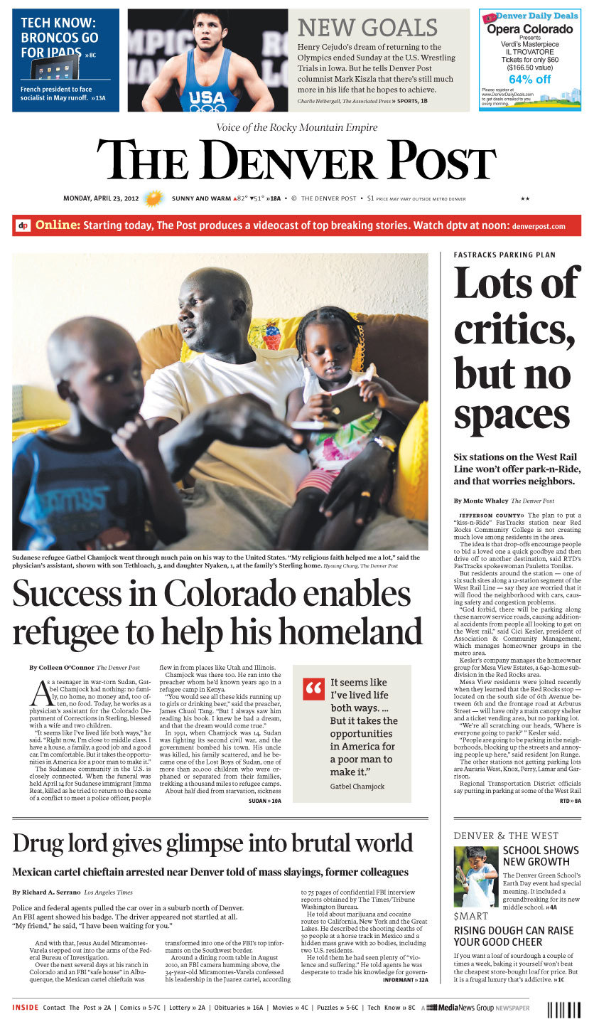 "Today's front page: Lots of critics, but no spaces The plan to put a ""kiss-n-Ride"" FasTracks station near Red Rocks Community College is not creating much love among residents in the area who are worried that neighborhoods along the West Rail Line will be flooded with cars. Six of the stations won't offer parking. Get more on this report here."