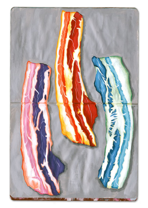 pezzz:  Acrylic Ink in Moleskine Sketchbook. Bacon.