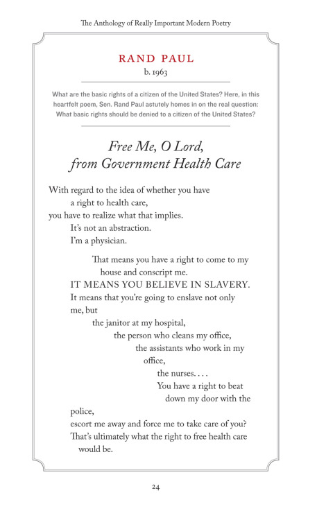 """Free me, O Lord, from Government Health Care"" - Rand Paul, modern poet."