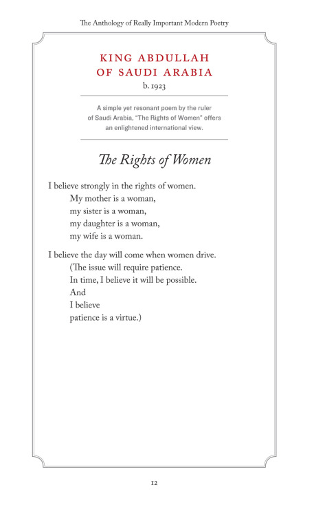"""The Rights of Women"" - by King Abdullah of Saudi Arabia, modern poet."
