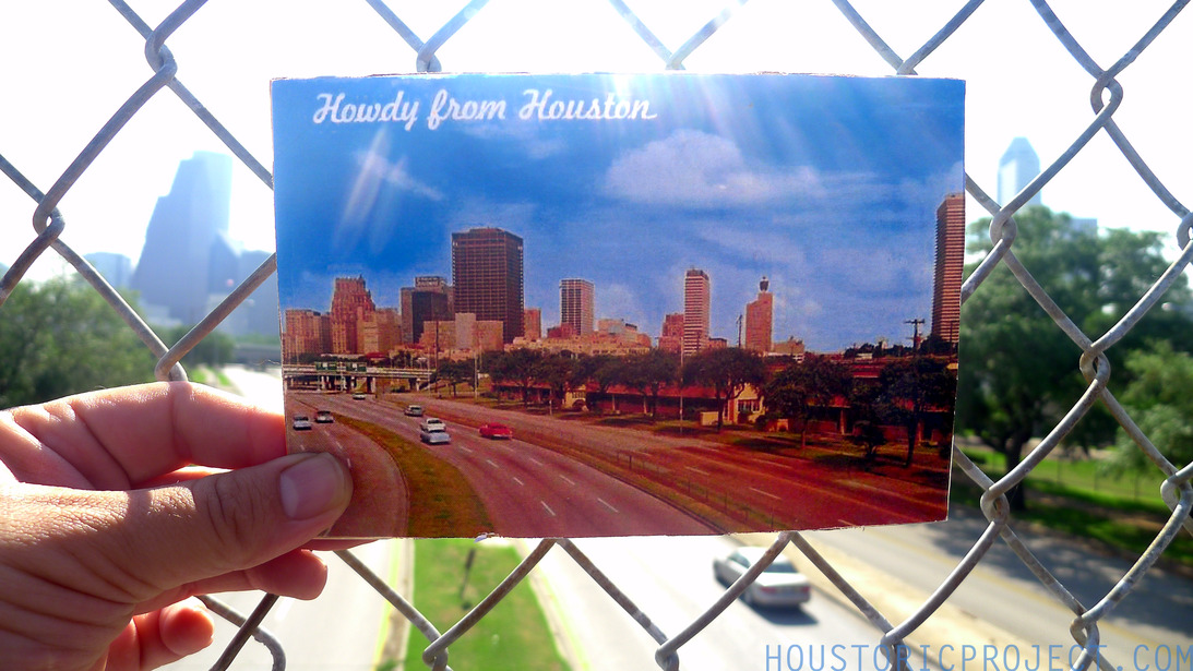 Howdy from Houston - The Skyline from the Allen Parkway Bridge, 1967.