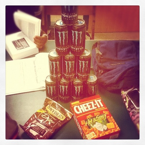The life of a college student during finals week. x) #college #life #food #monsters #finals #week (Taken with instagram)