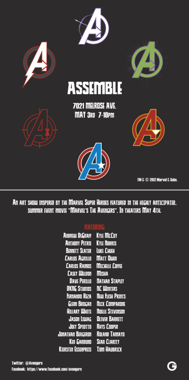 Making my LA debut in this Avengers group show… g1988:  …and there's this. ASSEMBLE, May 3rd, 7021 Melrose Ave. More details to come…