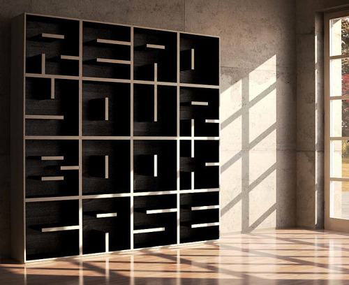 Modular letterforms can even be found in furniture design! Typographic Bookcase by Saporiti. http://blog.visua.com.au/projects/typographic-bookcase-by-saporiti-italy/