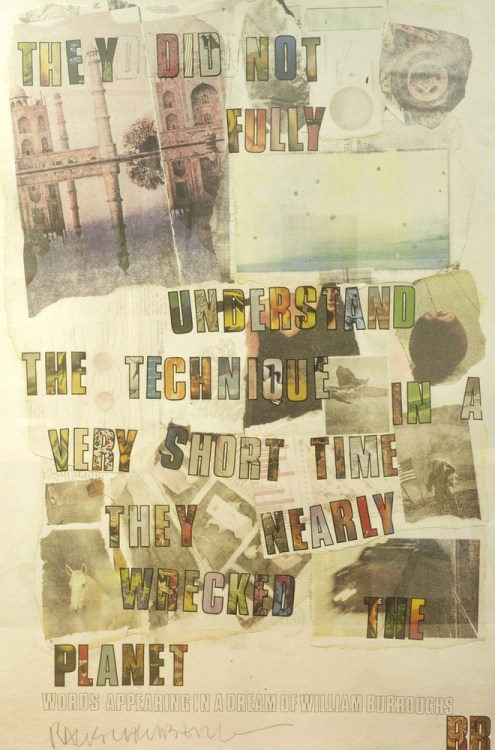 "robertrauschenberg:  Robert Rauschenberg, Dream of William Burroughs, offset lithograph, 1972 This Rauschenberg-Burroughs collaboration is a potent reminder of Earth Day 2012's ""Mobilize the Earth"" campaign message: the Earth won't wait. Learn more about what you can do to take action."